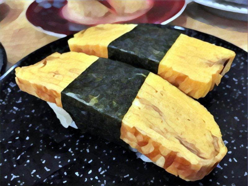 Nigiri (nigirizushi) with Japanese omelette (tamagoyaki)