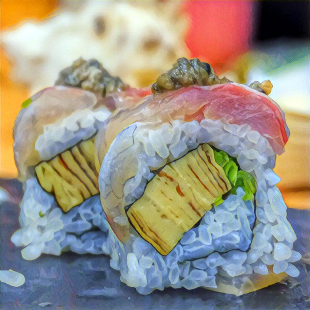 Sushi uramaki with Japanese omelette (tamagoyaki)